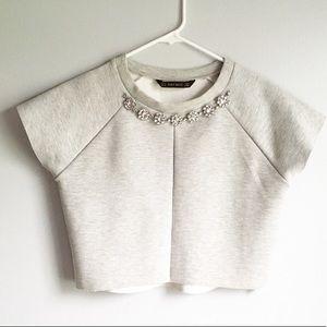Zara Basics Jeweled Crop Top Sweatshirt Gray